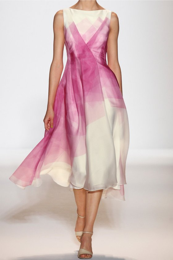 LELA ROSE printed silk organza dress
