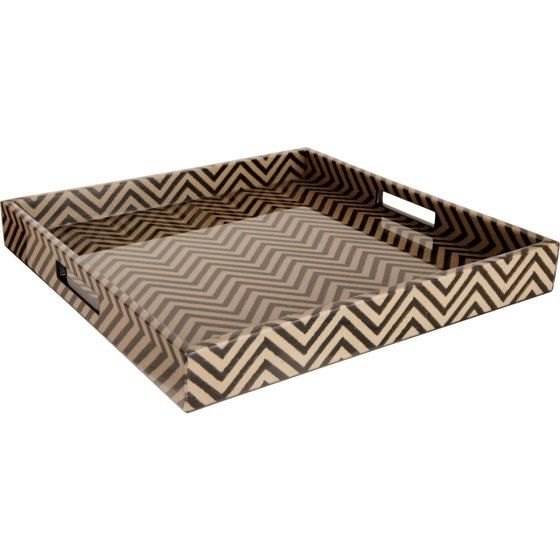 Madeline Weinrib Black Chevron Block Print Small Tray