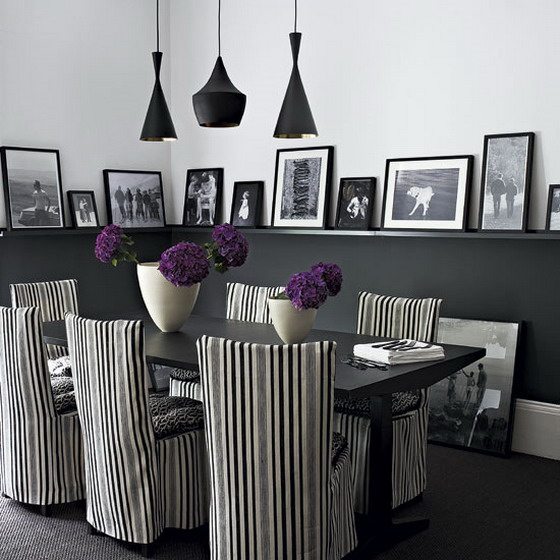Modern-Classic-Dining-Room-with-Striped-Chairs-Decor