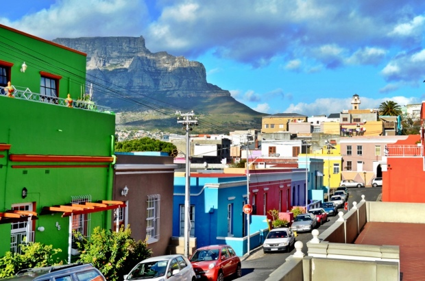 Lovely view of Bo kaap - cape town, Table mountain in the background